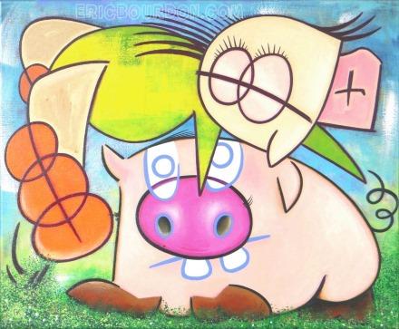 leap-pig painting canvas eric bourdon 440