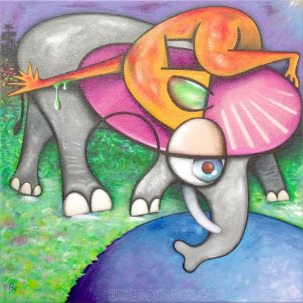 ufo elephant water 440 painting eric bourdon