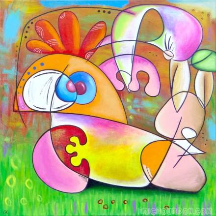 bird pedicure original acrylic painting 440 eric bourdon