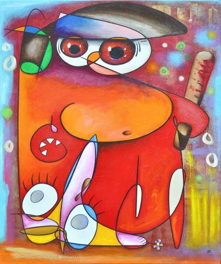 red cop yellow vest original art painting artwork eric bourdon