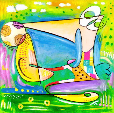 footballistic semi-abstraction soccer volley painting art online eric bourdon